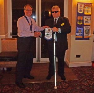 Presentation of Lions Bannerette to Nigel Whiteley of St Dunstans