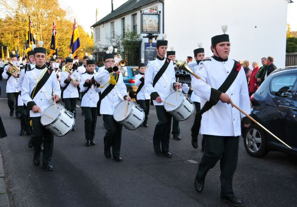 Burgess Hill Marching Youth leading a Remembrance Day Parade