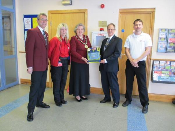 Presentation of Defibrillator to Chair of Mid Sussex and The Martlets Manager