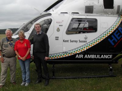Lion President John Gee with the Air Ambulance